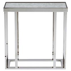 Fernanda Modern Classic Stainless Steel Mirror End Table | Kathy Kuo Home