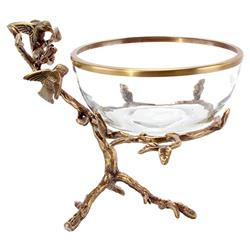 Fernlilly Classic Glass Antique Gold Hummingbird Branch Bowl | Kathy Kuo Home