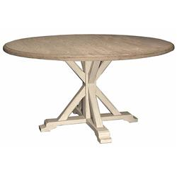 Ferro French Country White Oak Alder Wood Round Dining Table | Kathy Kuo Home