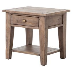 Filbert Rustic Lodge Reclaimed Wood Single Drawer Nightstand End Table | Kathy Kuo Home