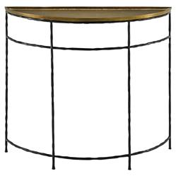 Finlay Industrial Loft Gold Top Iron Demilune Console Table | Kathy Kuo Home