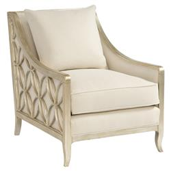 Finnian Regency Champagne Silver Fret Ivory Armchair | Kathy Kuo Home