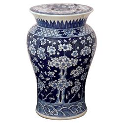 Fiora Global Bazaar Blue Floral Porcelain Garden Stool | Kathy Kuo Home
