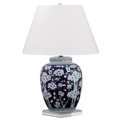 Fiora Global Bazaar Blue Floral Porcelain Lucite Table Lamp | Kathy Kuo Home