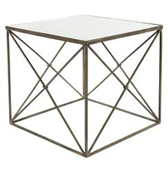 Furano Weathered Zinc Grey Antique Mirror Cube Side Table | Kathy Kuo Home