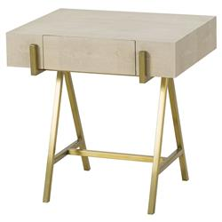 Fisk Regency Brass Ivory Shagreen End Table | Kathy Kuo Home
