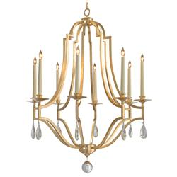 Fleming Regency Gold Leaf Caged Crystal Drop Chandelier | Kathy Kuo Home