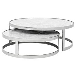 Fletcher Modern Classic White Marble Top Round Nesting Coffee Table | Kathy Kuo Home