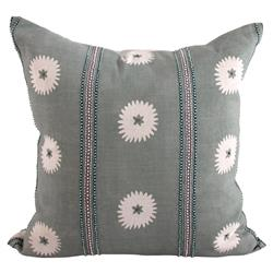 Floral Sage Green Beaded Accent Pillow - 22x22 | Kathy Kuo Home