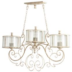 Florent French Country White 9 Light Island Chandelier | Kathy Kuo Home