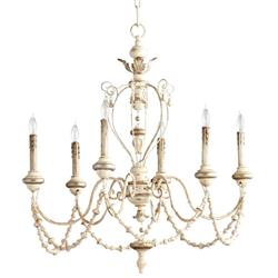 Florent White Washed French Country Beaded Swag 6 Light Chandelier | Kathy Kuo Home