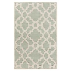 Florian Regency Mint Green Medallion Trellis Wool Rug - 5x8 | Kathy Kuo Home