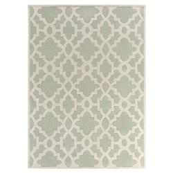 Florian Regency Mint Green Medallion Trellis Wool Rug - 9x13 | Kathy Kuo Home