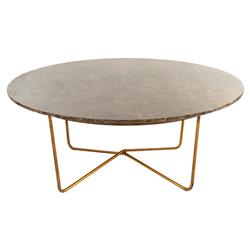 Fonda Hollywood Regency Quartz Gold Round Coffee Table | Kathy Kuo Home