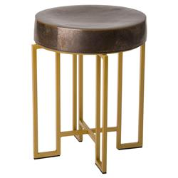 Ford Modern Gold Deco Grey Ceramic Outdoor Stool | Kathy Kuo Home