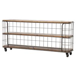Foundry Industrial Style 3 Tier Rustic Iron Wood Console on Wheels | Kathy Kuo Home