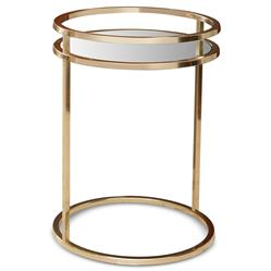 Fran Hollywood Regency Bright Brass Ring End Table | Kathy Kuo Home