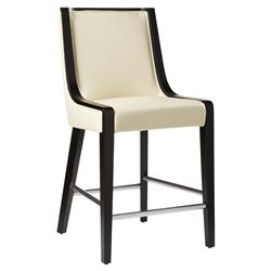 Franca Modern Classic Cream Leather Black Wood High Back Counter Stool | Kathy Kuo Home