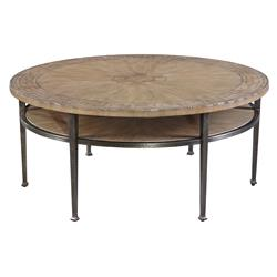 Francis Rustic Lodge Round Iron Coffee Table | Kathy Kuo Home
