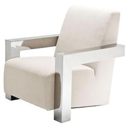 Franco Modern Classic Stainless Steel White Upholstered Club Chair | Kathy Kuo Home