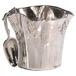 Frankford Modern Classic Warped Aluminum Ice Bucket | Kathy Kuo Home