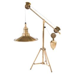 Franklin Industrial Loft Vintage Brass Pulley Table Lamp | Kathy Kuo Home