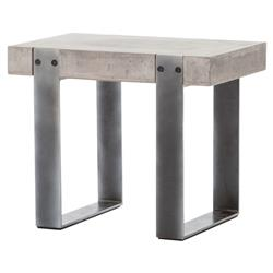 Frantz Industrial Modern Grey Metal Concrete Side Table | Kathy Kuo Home