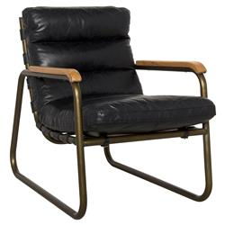 Fred Industrial Loft Black Leather Armchair | Kathy Kuo Home