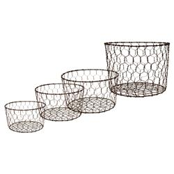 Freja French Country Dark Grey Wire Decorative Baskets - Set of 4 | Kathy Kuo Home