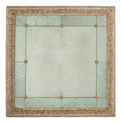 French Country Antique Gold Bilzen 48 Inch Square Rosette Mirror | Kathy Kuo Home