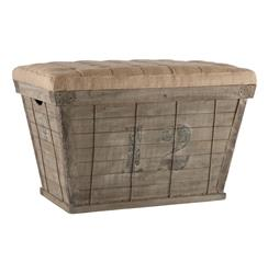 French Country Black Lettering Long Storage Crate Burlap Ottoman