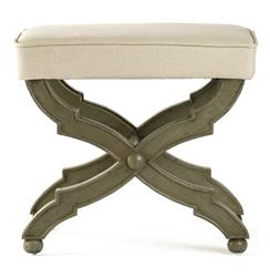 French Country Distressed Olive Wood Ottoman