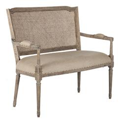 French Country Ethan Caned Back Dining Arm Settee | Kathy Kuo Home