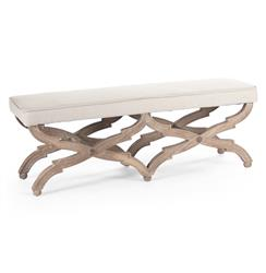 French Country Limed Grey Oak Long Dining End of Bed Bench | Kathy Kuo Home