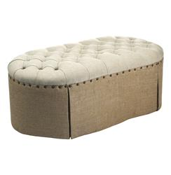 French Country Round Oval Tufted Linen Burlap Skirted Ottoman | Kathy Kuo Home