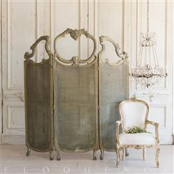 French Country Style Vintage Dressing Room Screen Divider: 1940 | Kathy Kuo Home