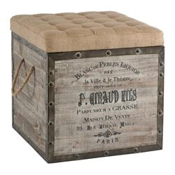 French Country Vintage Crate Burlap Cushion Cube Storage Ottoman