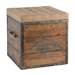 French Country Wood Crate Burlap Top Cube Ottoman