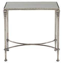 Freyja Industrial Antique Silver Mirror Glass End Table | Kathy Kuo Home