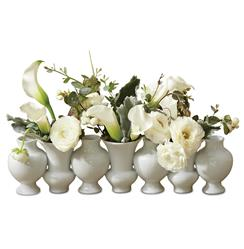 Fusion Hollywood Regency White Bud Vase Line | Kathy Kuo Home