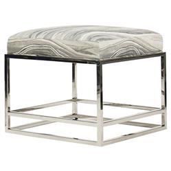 Gabby Modern Polished Steel Grey Marble Footstool | Kathy Kuo Home