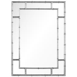 Gable Hollywood Regency Distressed Silver Leaf Iron Bamboo Mirror | Kathy Kuo Home