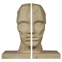 Gael Global Bazaar Marble Face Bookends | Kathy Kuo Home