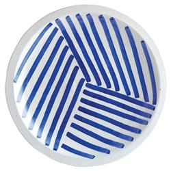 Gage French Country Swirling Blue Lines Decorative Charger Plate | Kathy Kuo Home