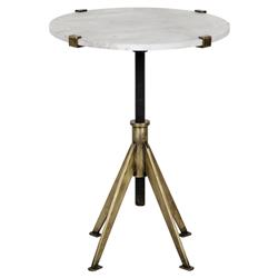 Gaines Modern White Quartz Brass Adjustable Height Small Side Table | Kathy Kuo Home