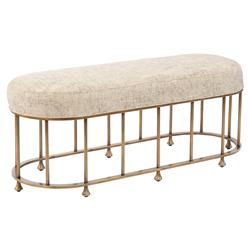 Gala Regency Metallic Champagne Oval Brass Bench | Kathy Kuo Home