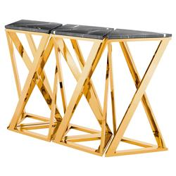Galaxy Modern Classic Black Marble Gold Console Table - Set of 5 | Kathy Kuo Home