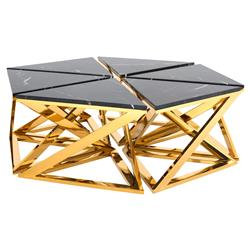 Galaxy Modern Classic Black Marble Gold Octagonal Coffee Table | Kathy Kuo Home