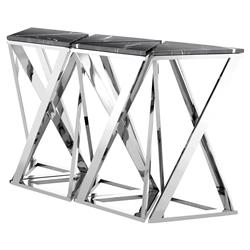 Galaxy Modern Classic Black Marble Silver Console Table - Set of 5 | Kathy Kuo Home