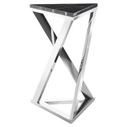 Galaxy Modern Classic Black Marble Triangular Side End Table | Kathy Kuo Home